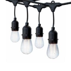 Black Outdoor String Light 10pc. 6M Suspended Sockets